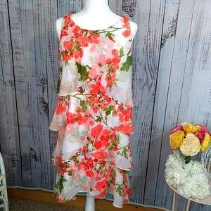 SLNY Floral Sheath Midi Dress Size 14